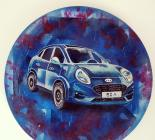 """Car "", hand-painted porcelain plate"
